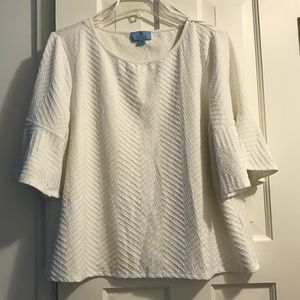 CECE White Top with Ruffle sleeve